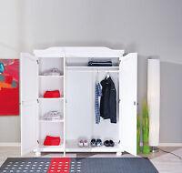 Armoire penderie dressing rangement chambre vintage 3 portes bois massif BLANC