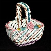 Spain Basket Braided Porcelain Pottery Roses Hand Painted Vintage