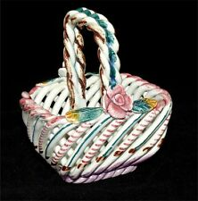 Vintage Spain Basket Braided Porcelain Pottery Roses Hand Painted