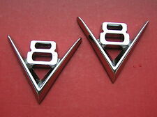 V8 METAL PAIR BADGES Chrome Emblems For Your Car *NEW* Vintage Style Ford Chev