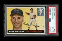 1955 Topps BB Card #174 Rudy Minarcin Redlegs ROOKIE CARD PSA EX-MT 6 !!!