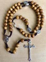 Rosary Necklace for Men Women Wood Prayer Beads Jerusalem Crucifix Cross