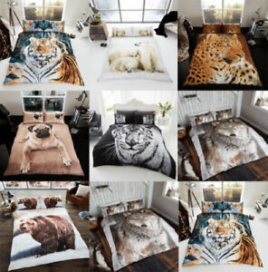 Reversible 3D Animal Print Duvet Cover sets with Pillowcases ~ ALL SIZES