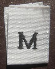 100 PCS WHITE WOVEN CLOTHING LABEL SIZE TAGS - MEDIUM - M