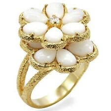 Gold Daisy Flower Deco Cocktail Ring Plated  White Crystal Chunky Size 10 USA