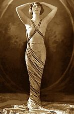 ART NOUVEAU VINTAGE CLASSIC GODDESS DANCER POSE BEAUTY WOMAN GLAMOUR GOWN PHOTO