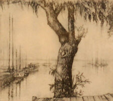 """Evelynne Mess Daily """"In the Bay"""" 57/100 7x6"""" signed Etching INDIANA Historic Art"""