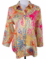 Lauren Ralph Lauren Top Womens Size XL Paisley Shirt Pink Boho Long Sleeved