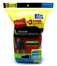 8 Hanes Blue Gray Red Green Large L 36-38 Inch Boxer Briefs FreshIQ G 90-95 CM