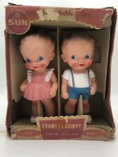 """Vintage The Sun Rubber Co. 8"""" Ruth E. Newton Chunky and Rompy Twin Dolls in Box"""