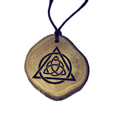 Triquetra Necklace Charm Wooden Handmade Engraved Triskele Pagan Wiccan Celtic