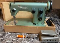 Husqvarna Viking Combina Sewing Machine Type 49E Sweden Case Vintage Works Used