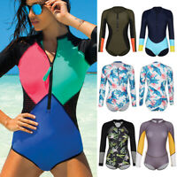 Women Rashguard One Piece Long Sleeve UV Protection Surfing Swimsuit Swimwear F