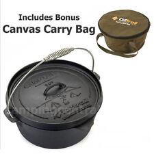 OZTRAIL 9 QUART CAMP OVEN + CARRY BAG Cast Iron Pot Pan Cookware