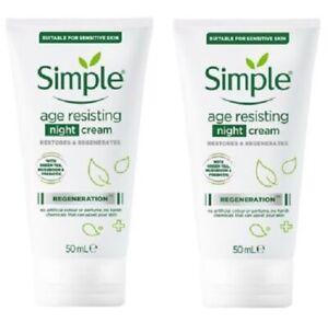2 x Simple Regeneration Age Resisting Night Cream  (2 x 50ml) - Boxed