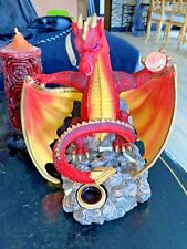 Red Dragon Figurine Mythical Fantasy Magical Red Crystal Ball Incense Burner
