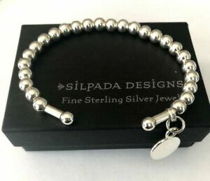 RARE SILPADA Sterling Silver FLEXIBLE BEADED CUFF BANGLE BRACELET charm  B0744