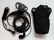 D Shape security ear piece, 2 wire for icom, hand held ptt + Genuine ICOM case