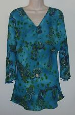 """Michele Michelle Sheer Long Sleeve Tunic Top M Bust 36"""" Length 29"""""""