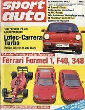 sport auto 1/92 1992 Alfa 164 V6 Turbo Dennert-Audi 80 Ferrari F40 Lotec Carrera
