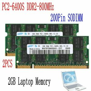 4GB 2x 2GB PC2-6400S 2Rx8 DDR2 800MHz 200Pin DIMM RAM Laptop Memory For Samsung