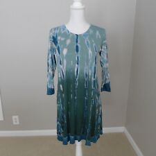 NWT Earthbound Trading Co Dress Short L/S Teal Ombre Size L