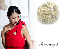 Swirl flower clear crystal white pearl beads silver plate wedding brooch pin H04