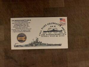 USA 1991 NAVY COVER USCS USS SOUTH DAKOTA BATTLESHIP MASSACHUSETTS FALL RIVER