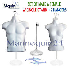 2 Mannequins -Male & Female Torsos - White Dress Form Set w/ 2 Hangers & 1 Stand