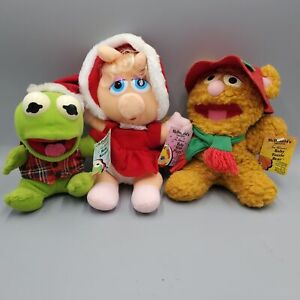 Muppet Babies Christmas Plush Doll Lot Kermit Miss Piggy Fozzie 7 inch with tags