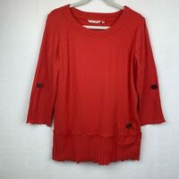 Soft Surroundings Womens Tunic Top Medium Textured 3/4 Sleeve Orange Pull On A62