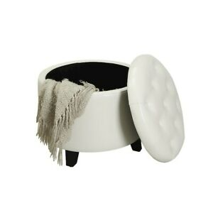 Convenience Concepts Designs4Comfort Round Ottoman, White - 163060W
