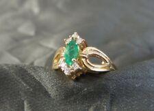 Beautiful Stylish 14K Gold, Emerald & Diamond Ring - Great Design