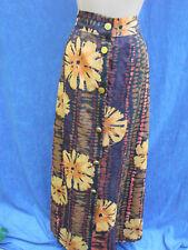 Vintage 70s Poly Maxi Skirt BUTTON FRONT Orange M L Floral