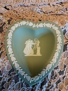 Vintage Green Wedgwood Heart Shaped Dish  JasperwareGreen Trinket Ring Earring