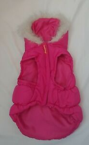 Dog Clothes Winter Warm Jacket For Medium Dogs Fur Hooded Puffy Pink with Bow