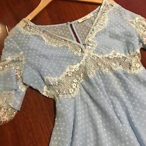 Pastel blue Chantilly lace V-neck polka dot summer playsuit romper Size L