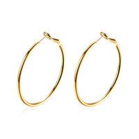 14k Yellow Gold 3mm Thickness Hoop Huggie Earrings