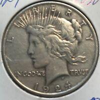 "1924  ""VAM"" REV. CUD  **** PEACE DOLLAR ****  L@@K AT PICTURES!!!!!   #1832"