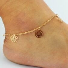 Fashion Women Gold Plated Rose Ankle Chain Bracelet