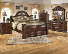 Ashley Gabriela Queen 7 Piece Bed Set w/ Footboard Storage Furniture B347
