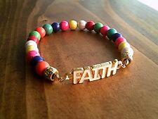 Faith Bracelet Turquoise Gemstone Multi Colour Beaded Bracelet Unisex UK Seller