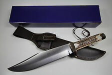 GERMAN LINDER BOWIE DELUXE COLLECTORS KNIFE WITH STAG HANDLE & LEATHER SHEATH !!