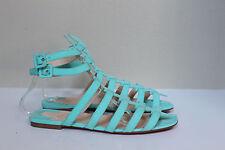 New sz 5.5 / 36 Christian Louboutin Neronna Aqua Blue Ankle Sandal Flat Shoes