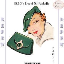 Vintage Sewing Pattern 1930s Beret Hat & Bag Depew #3071 Purse Paper Version