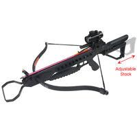 175 lb Black Hunting Crossbow Archery Bow +7 Arrows +Stringer +Wax 150 80