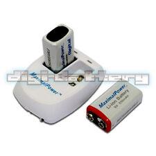 2 X MaximalPower 9V 9 Volt Rechargable Battery Batteries + Dual Wall Charger
