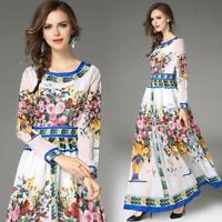 Womens Full Length Ball Gown Floral Dress Maxi Swing Holiday Chiffon Retro 2018