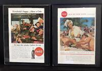 Vtg Coca-Cola COKE Ads, Framed:1945 Military Returning Home & 1958 Beach in Cuba