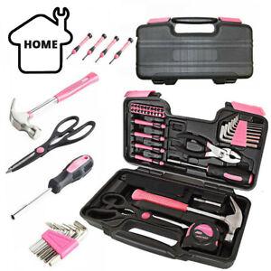 Pink 39 piece Household Home Hand Tool Set Kit Box with Hard Storage Case DIY UK